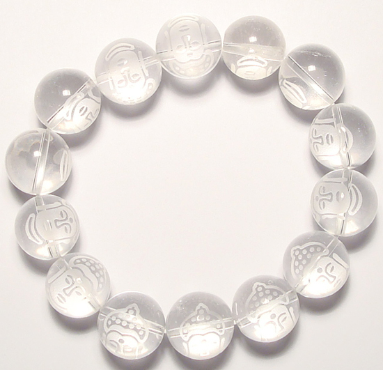 Natural 15mm Laser Carved Buddha Round Clear Quartz Beads Bracelet 8 Cq015